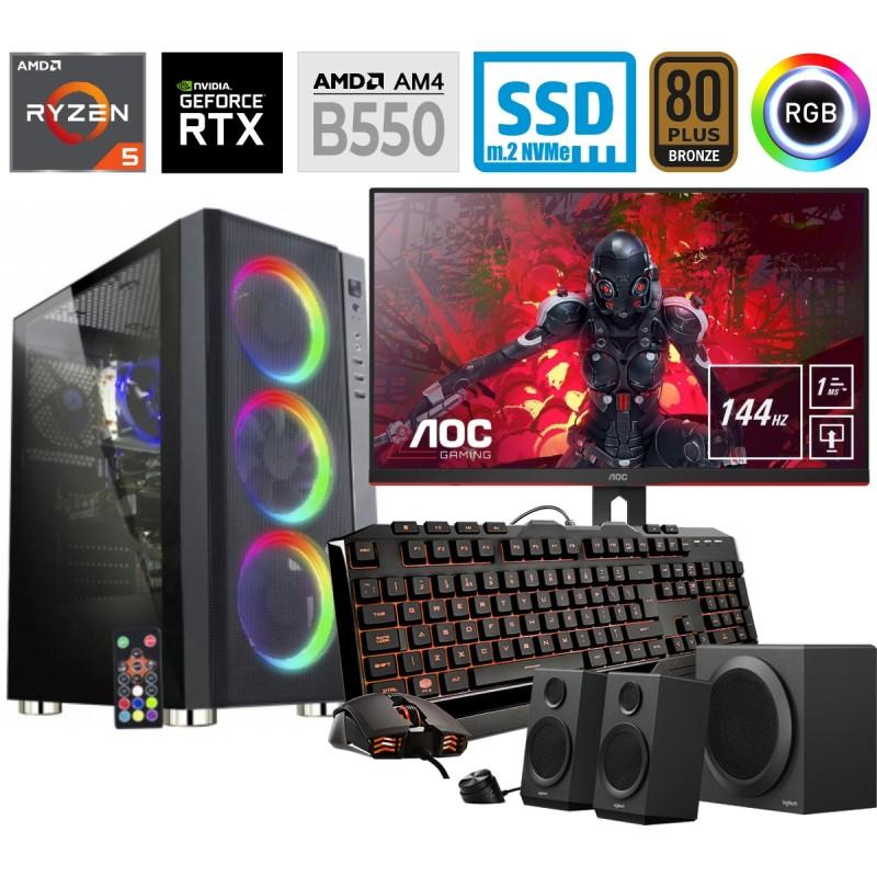 Računalniški komplet MEGA 6000Y Ryzen 5 3600XT 10SSD16 2T RTX3060Ti RGB