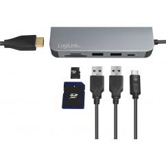 Multifunkcijski Hub LogiLink USB-C 6v1 (UA0343)